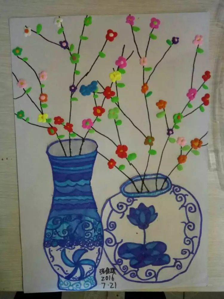 青花瓷图片大全幼儿画-幼儿园简单青花瓷图片-儿童画青花瓷花瓶图片