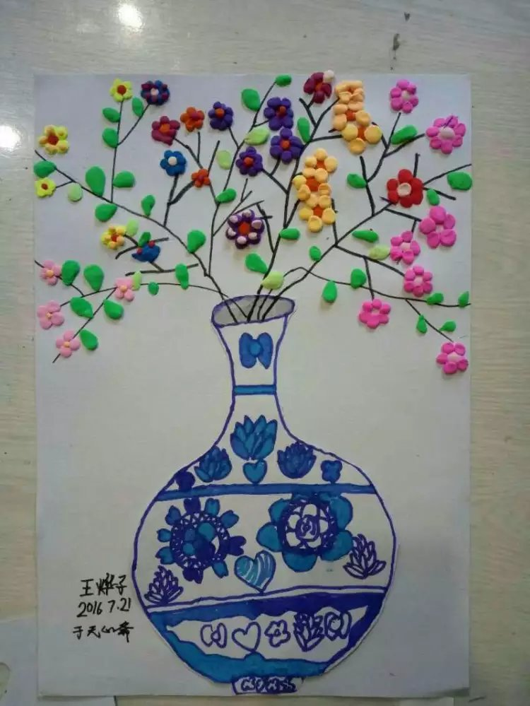 无心斋童画之青花瓷瓶装饰画